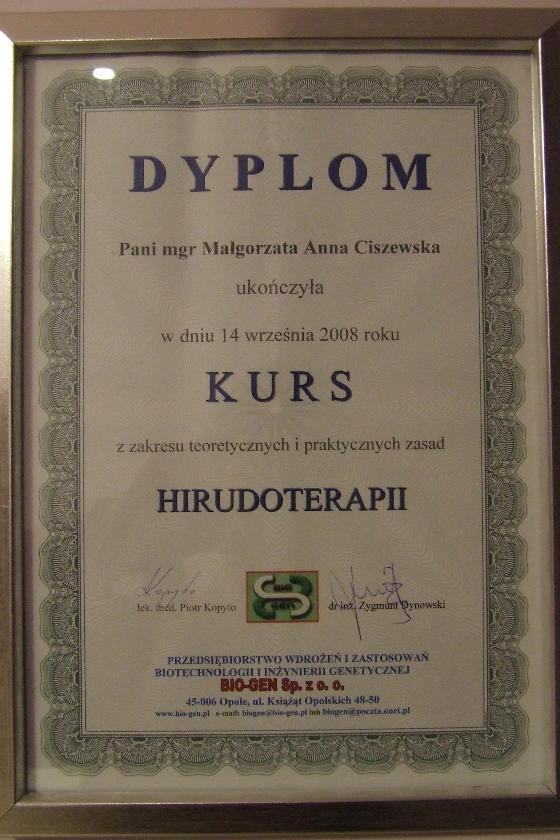 dyplom ukończenia kursu hirudoterapii