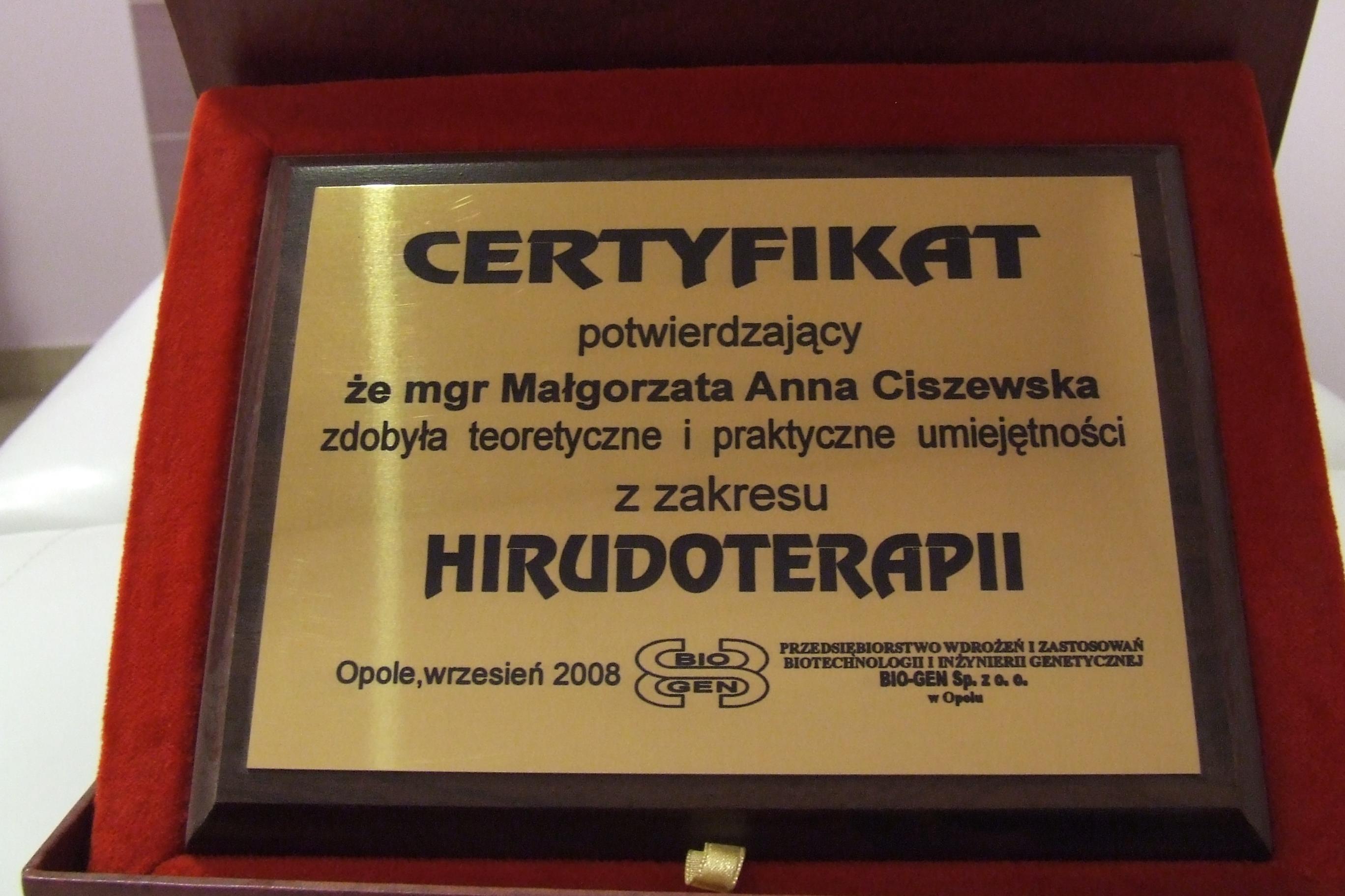 certyfikat hirudoterapii